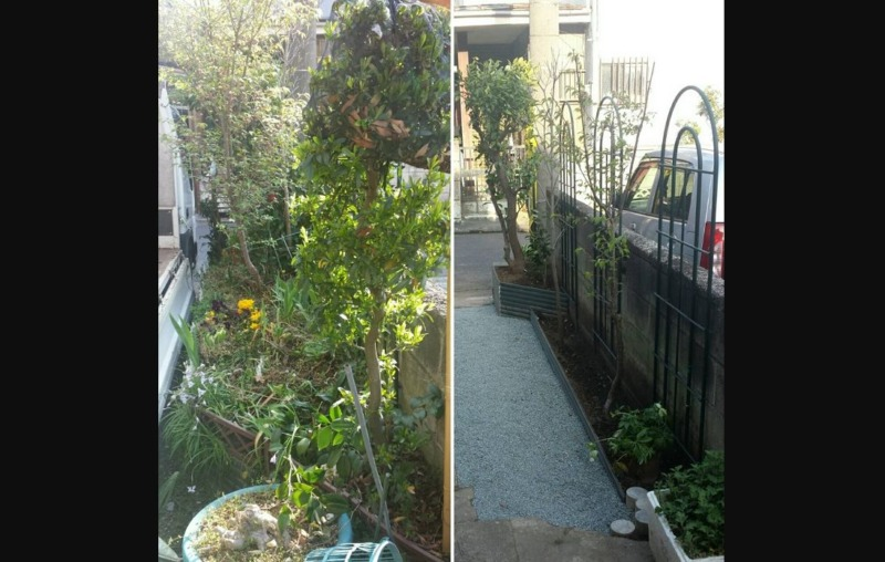 花壇縮小工事