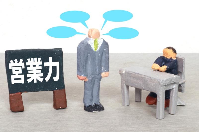 営業力の看板と会社員の人形