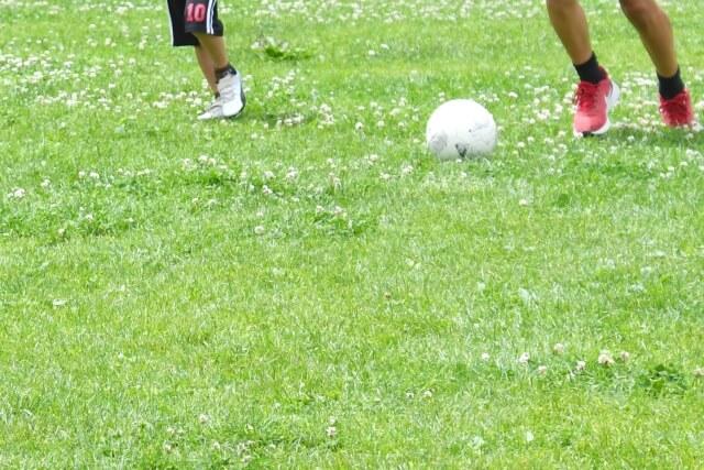 芝生でサッカー